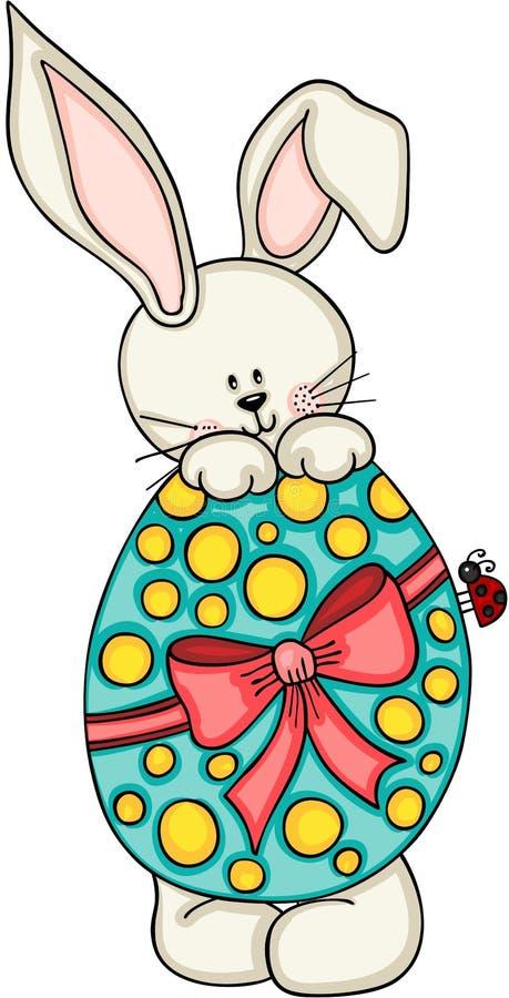 Conejito lindo con el huevo de Pascua stock de ilustración