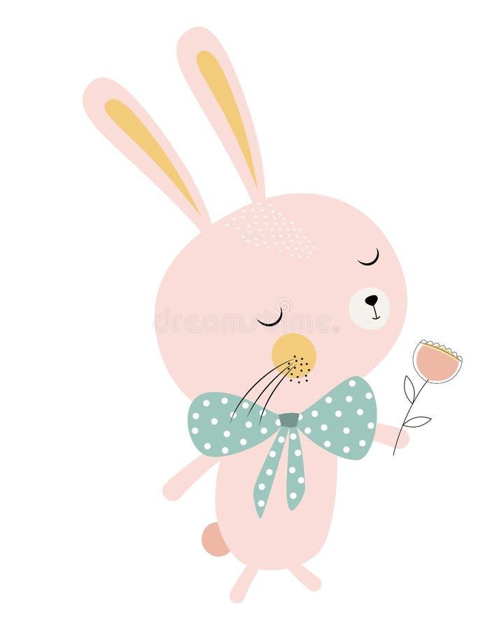 Conejito lindo con la flor stock de ilustración