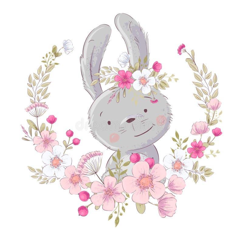 Conejito lindo del cartel de la postal pequeño en una guirnalda de flores Gr?fico de la mano Vector stock de ilustración