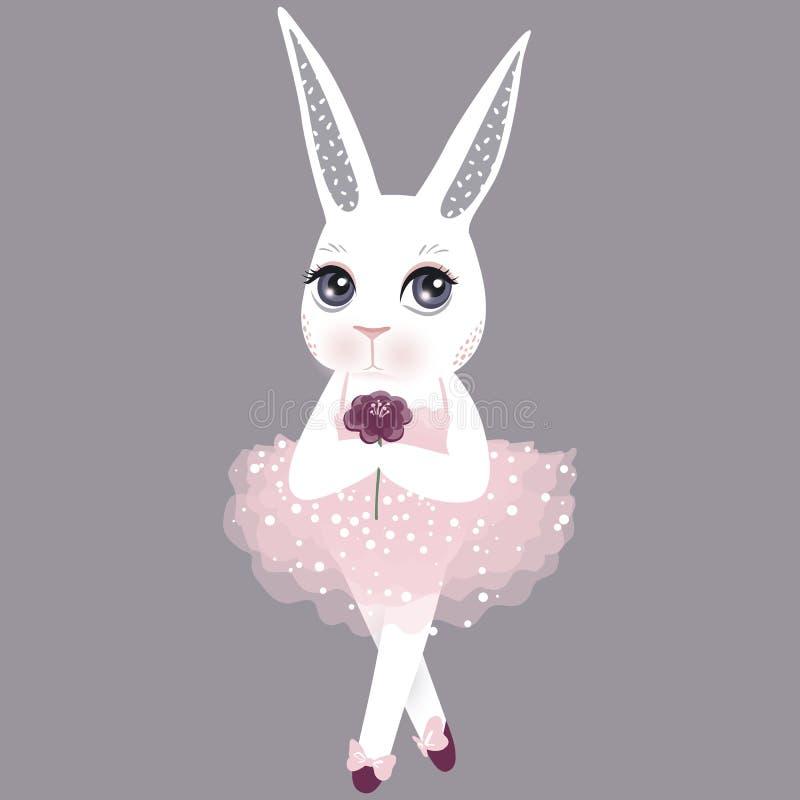 Conejito lindo del vector en un vestido rosado Ilustración feliz de Pascua Ca ilustración del vector