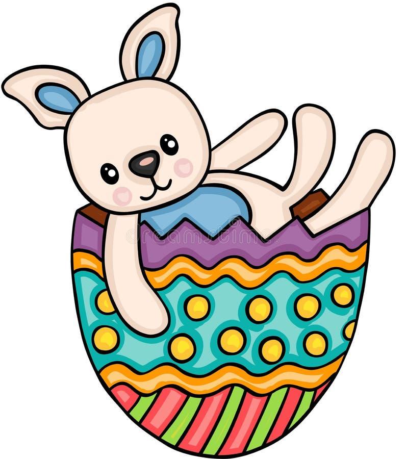 Conejito lindo en el huevo de Pascua stock de ilustración