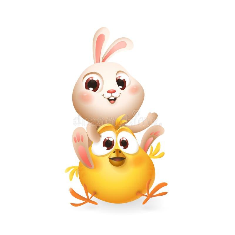 Conejito lindo y pollo del bebé que juegan y que se divierten - aislada en blanco - ejemplo del vector stock de ilustración