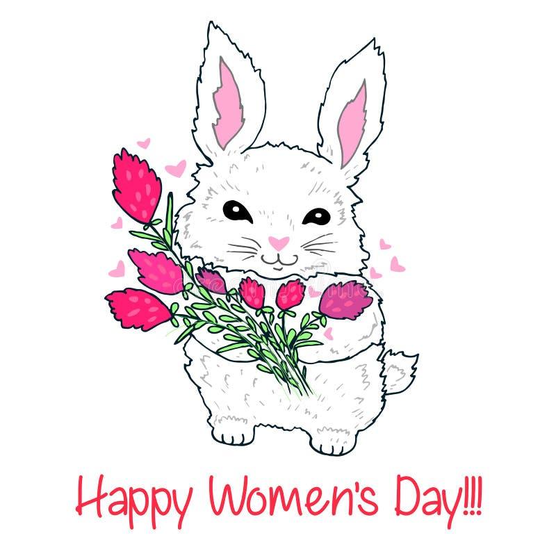 Conejito mullido lindo con un ramo de flores y de corazones del vuelo stock de ilustración
