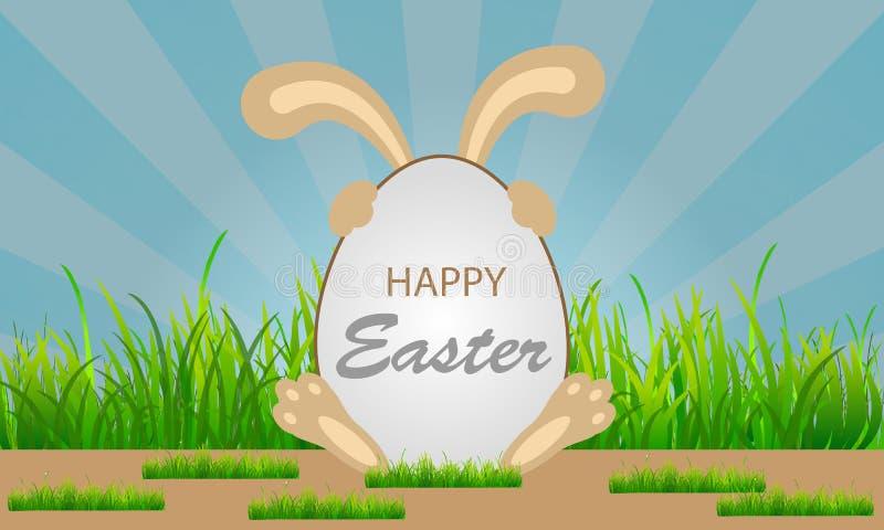 Conejito para el huevo de Pascua grande stock de ilustración