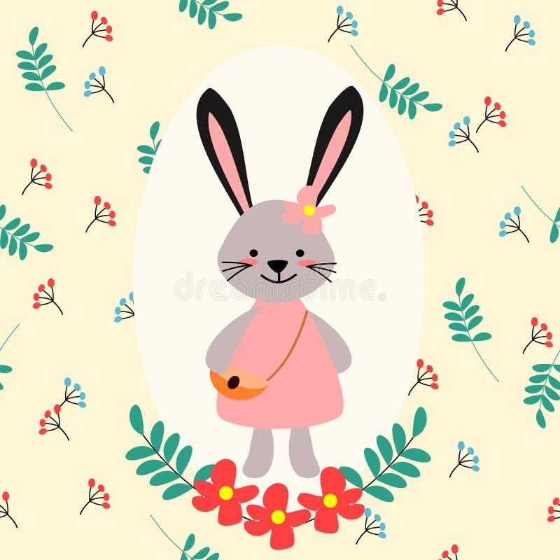 Conejito precioso en fondo de la flor ilustración del vector