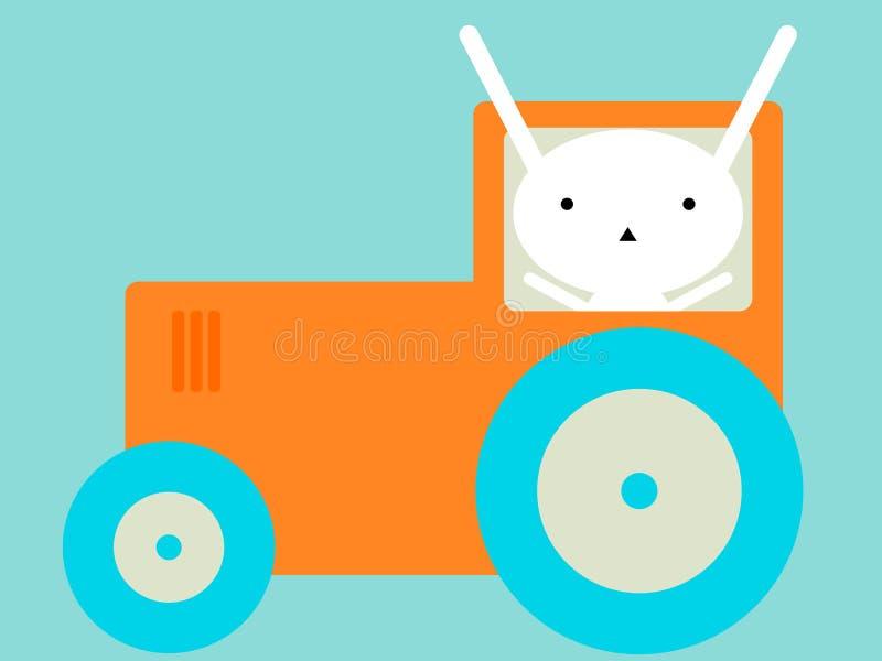 Conejito que monta un tractor imagen de archivo libre de regalías