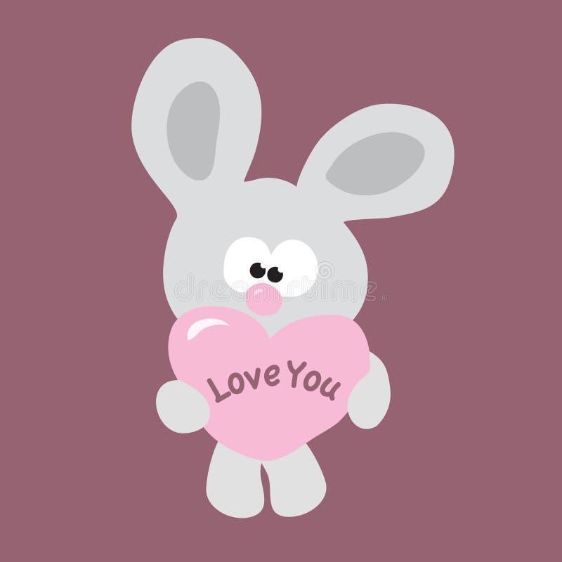 Conejito tímido de la tarjeta del día de San Valentín ilustración del vector