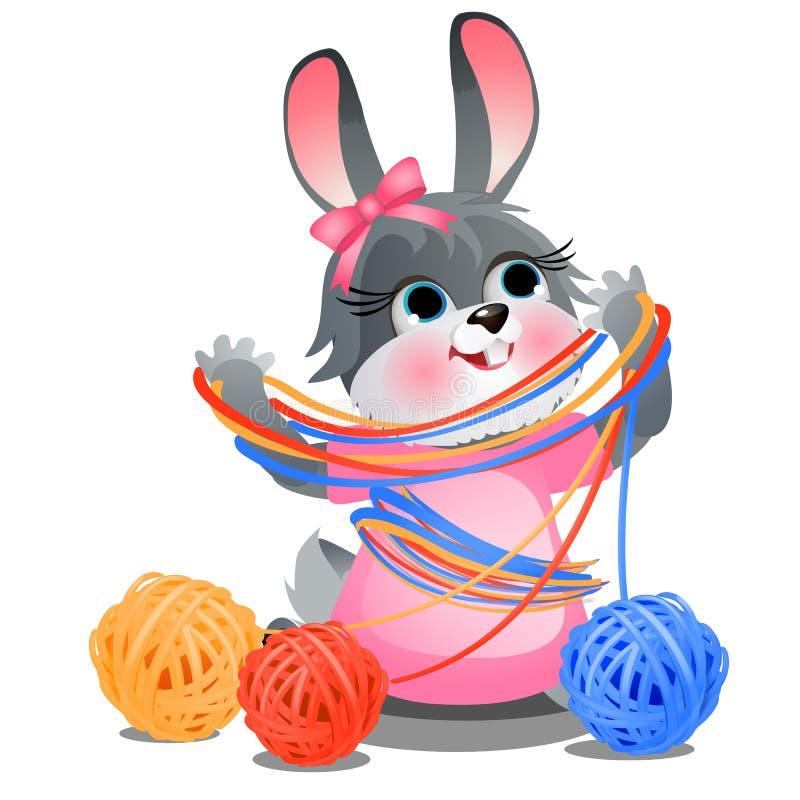 Conejito travieso lindo que juega con enredos del hilado coloreado de lana aislado en el fondo blanco Primer de la historieta del stock de ilustración