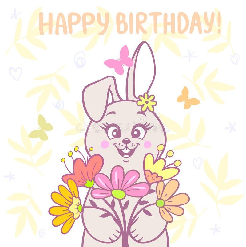 Conejito y flores libre illustration