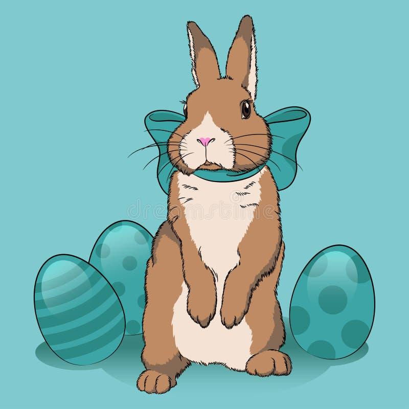 Conejito y huevos de pascua stock de ilustración