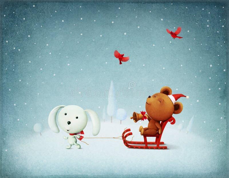 Conejito y oso de la aventura de la Navidad stock de ilustración