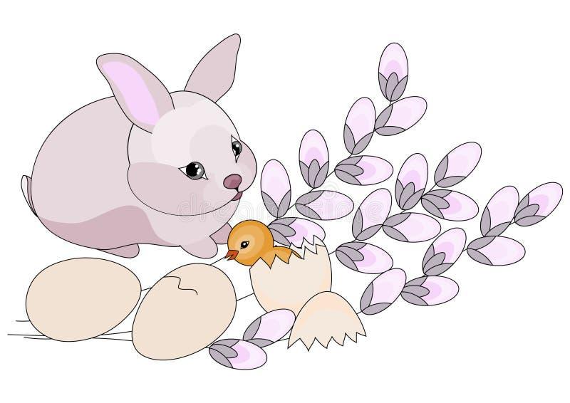Conejito y pollo de pascua. Ilustración del vector ilustración del vector