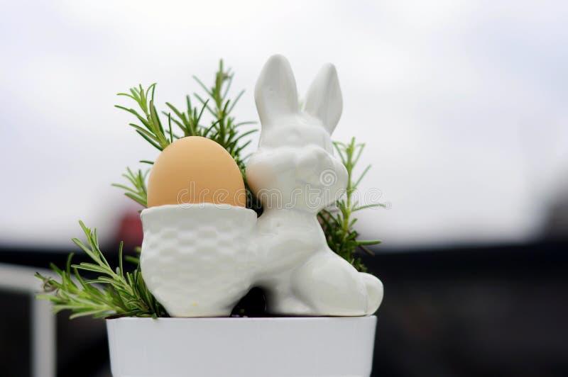 Conejito y romero 2 del huevo foto de archivo libre de regalías