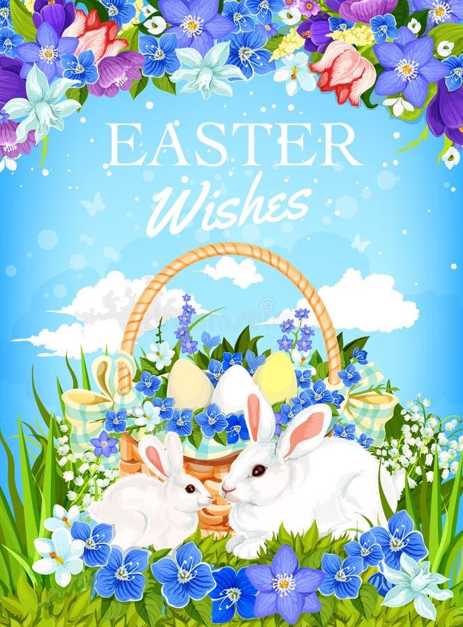 Conejitos de pascua con las flores de la cesta y de la primavera del huevo stock de ilustración