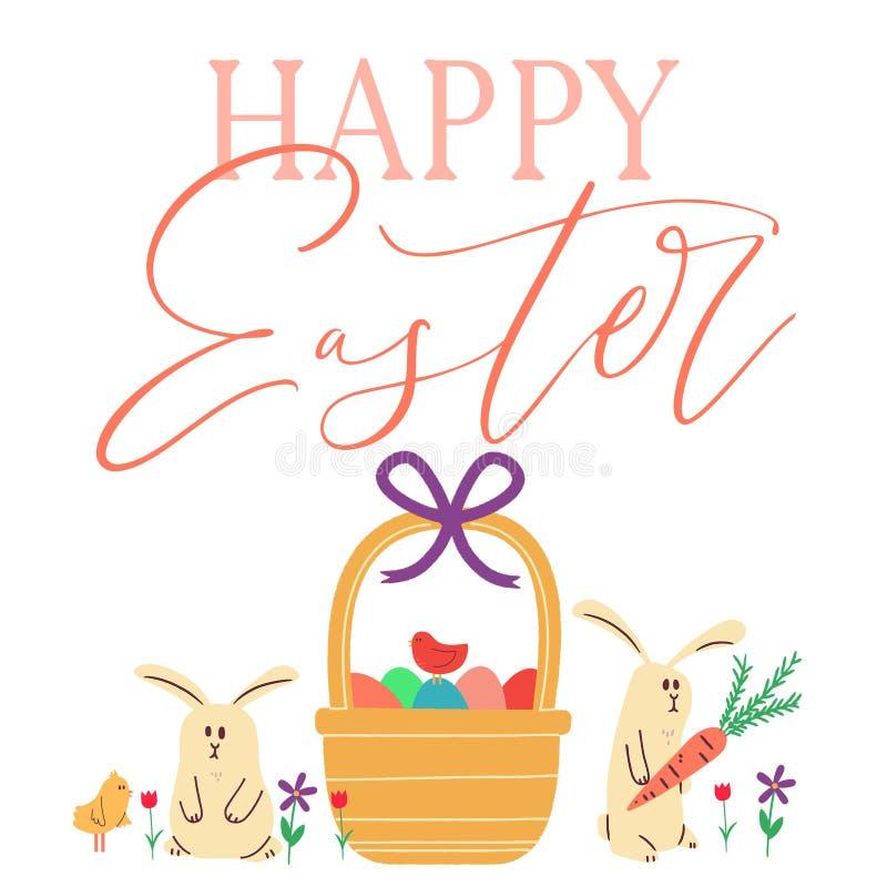 Conejitos de pascua felices con los huevos en cesta ilustración del vector