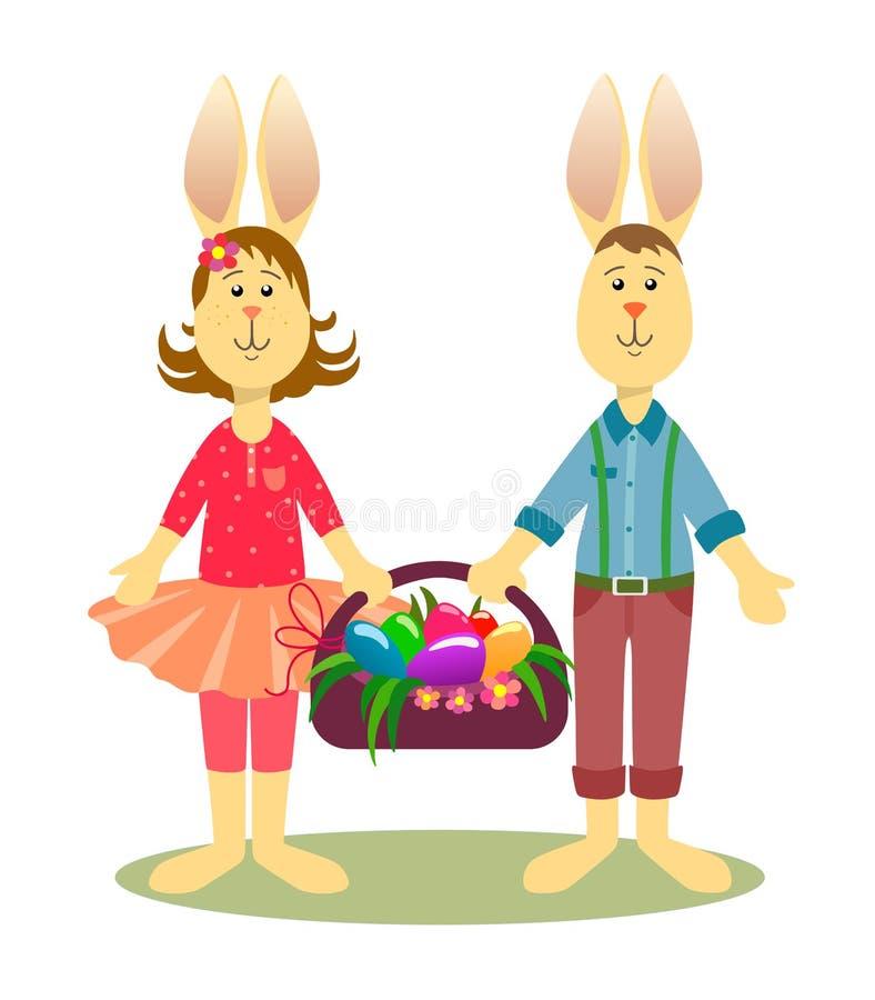 Conejitos de Tilda Easter con una cesta de huevos en un fondo blanco stock de ilustración