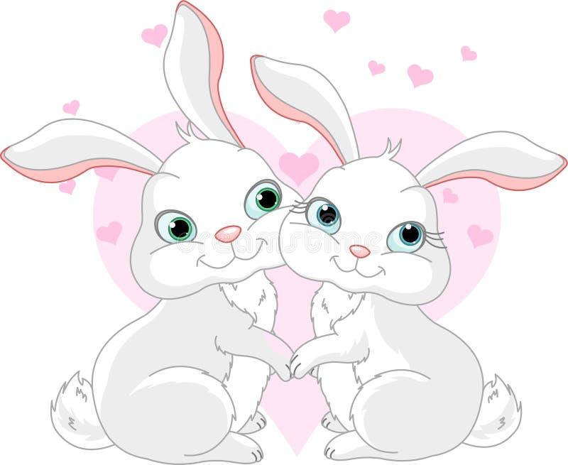 Conejitos en amor stock de ilustración
