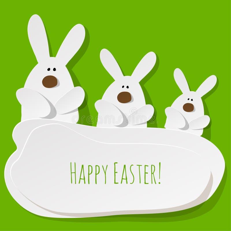 Conejitos felices de la postal tres de Pascua en un fondo verde ilustración del vector