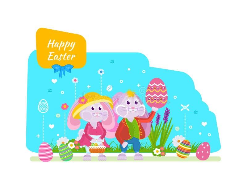 Conejitos lindos con una cesta y los huevos de Pascua a disposición ilustración del vector