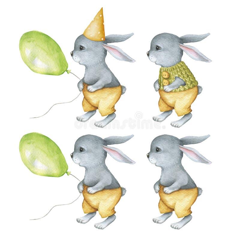 Conejitos lindos de Whatercolor fijados con el globo libre illustration
