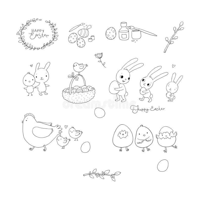 Conejitos y pollos de pascua, huevos y pintura Liebres y pájaros lindos de la historieta animales alegres Sistema de la primavera ilustración del vector