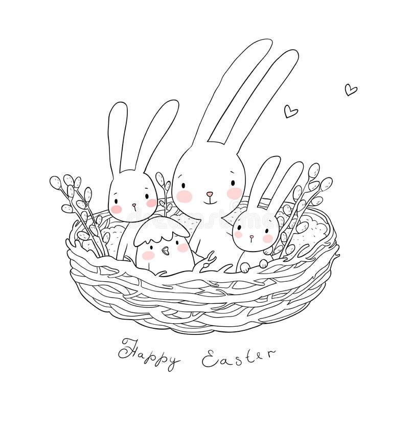Conejitos y pollos de pascua Liebres y polluelo lindos en los animales felices de la jerarquía - vector libre illustration