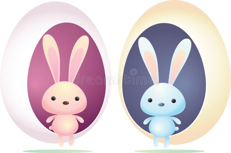 Conejo azul y rosado ilustración del vector