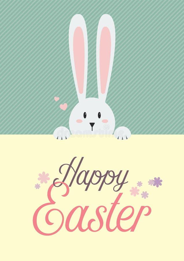Conejo blanco con la muestra feliz de pascua libre illustration