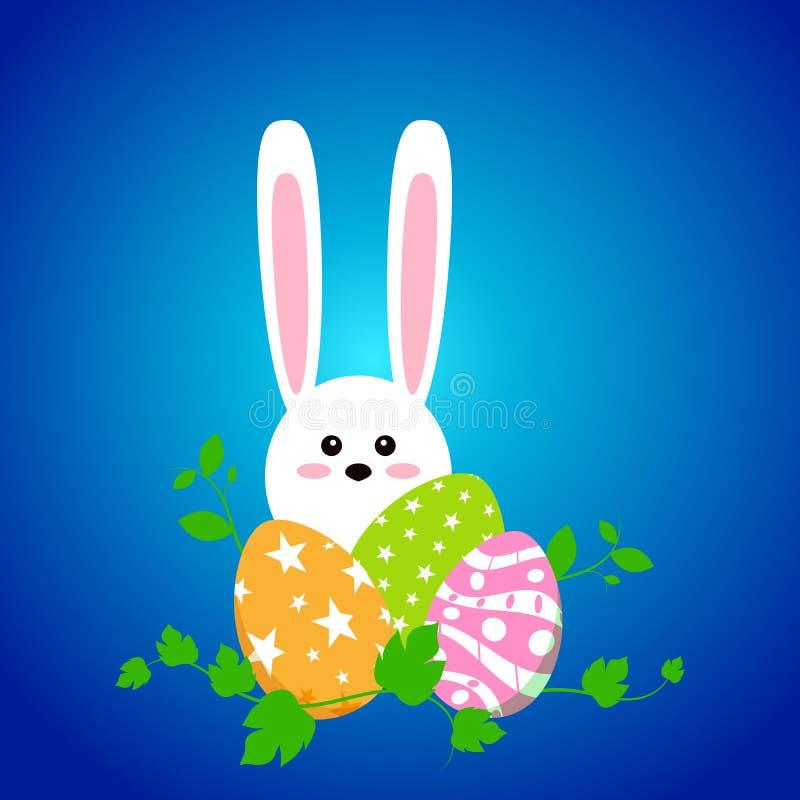 Conejo blanco de pascua con los huevos Conejito divertido en estilo plano Conejito del este En fondo azul del invierno Pascua fel ilustración del vector