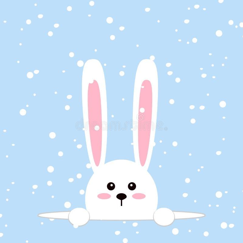 Conejo blanco de pascua Conejito divertido en estilo plano Conejito del este En fondo azul del invierno, copos de nieve que caen  ilustración del vector