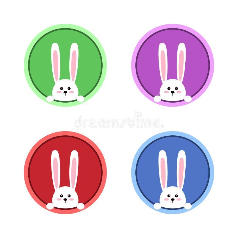 Conejo blanco de pascua Conejito divertido en estilo plano Conejito del este Ilustración del vector stock de ilustración