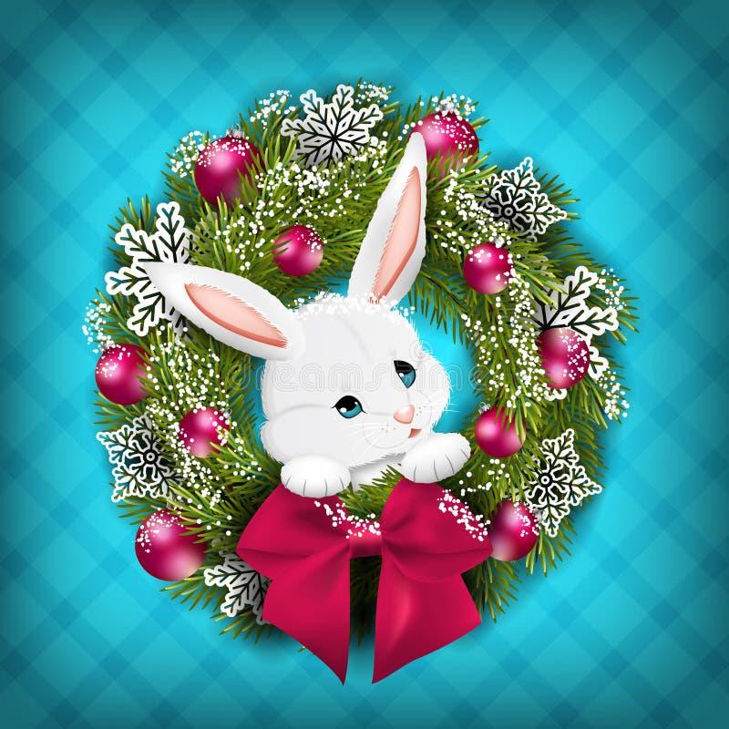 Conejo blanco en guirnalda de la Navidad Vector libre illustration