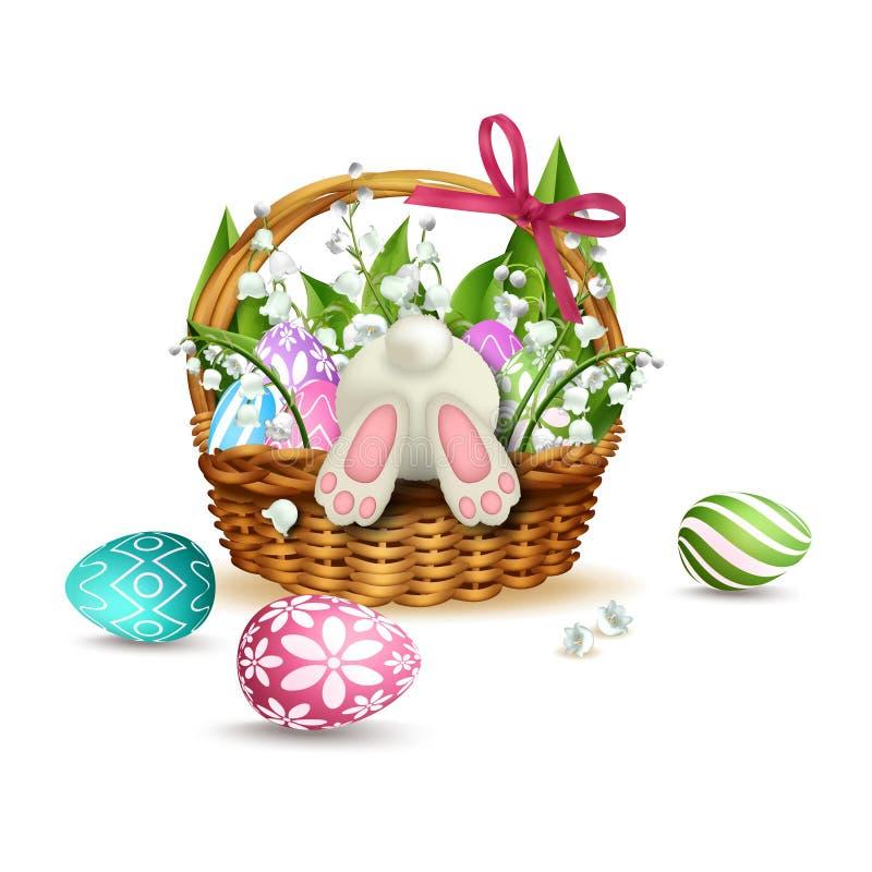 Conejo blanco en la cesta de mimbre de Pascua con los huevos coloridos Vector ilustración del vector