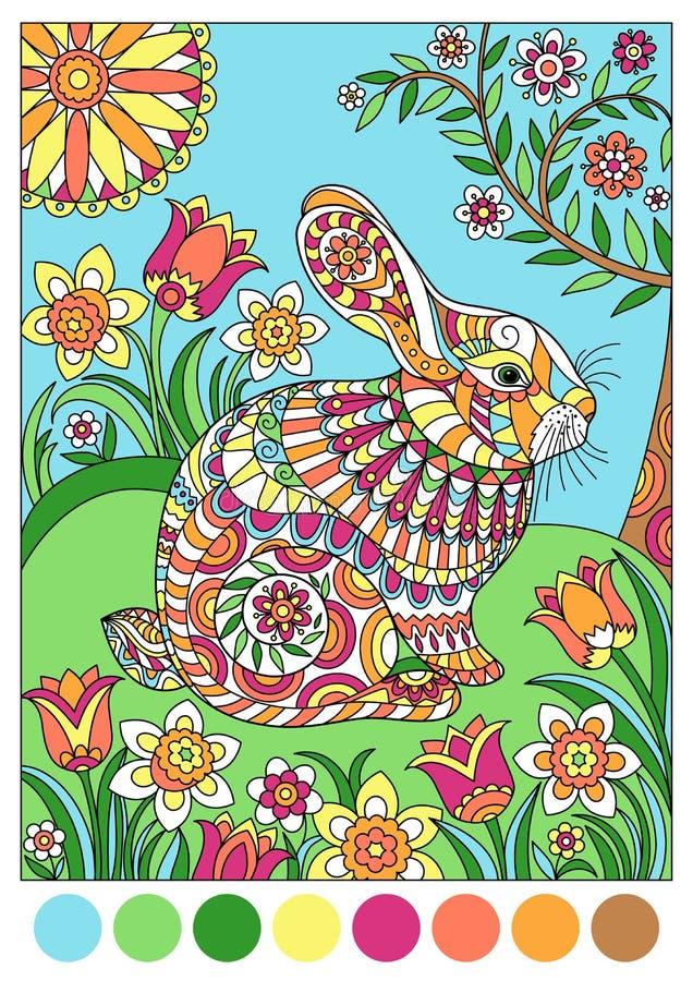 Conejo Colorido De La Primavera Para El Libro De Colorear De La ...