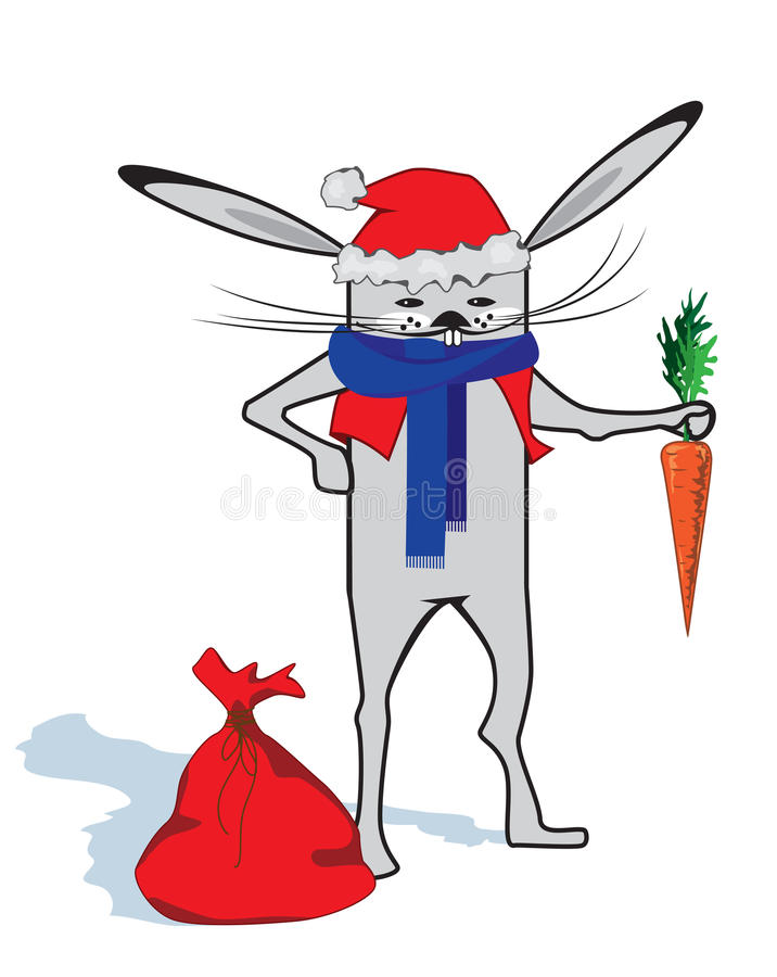 Conejo como Papá Noel libre illustration