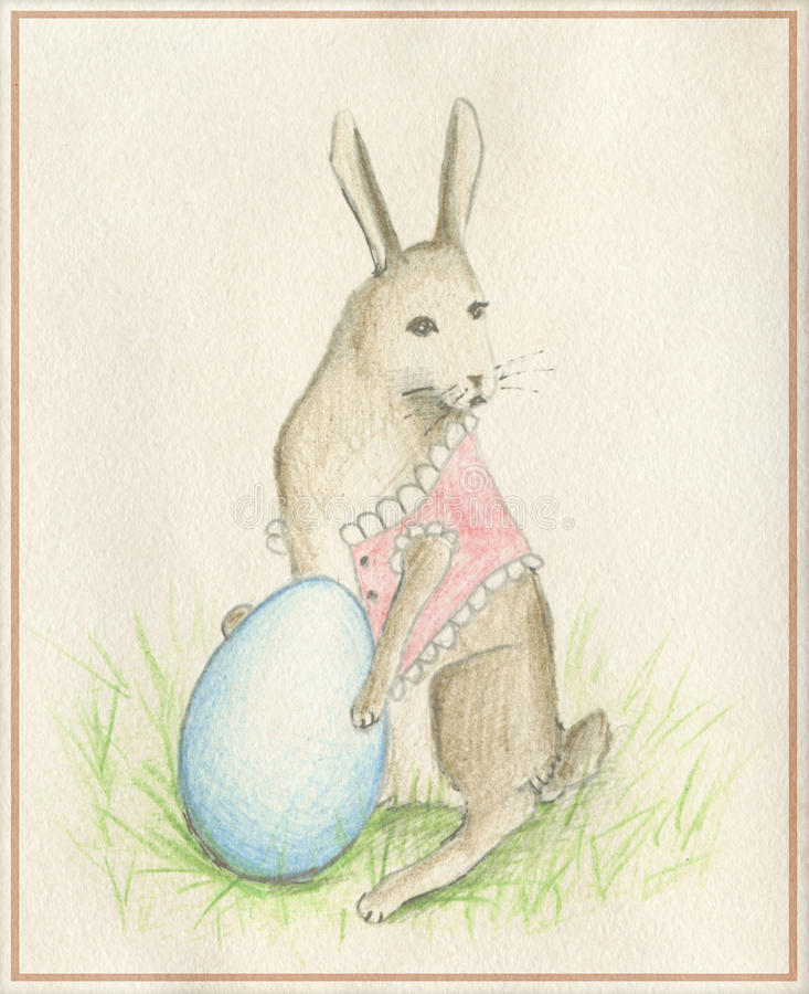 Conejo con el huevo imágenes de archivo libres de regalías