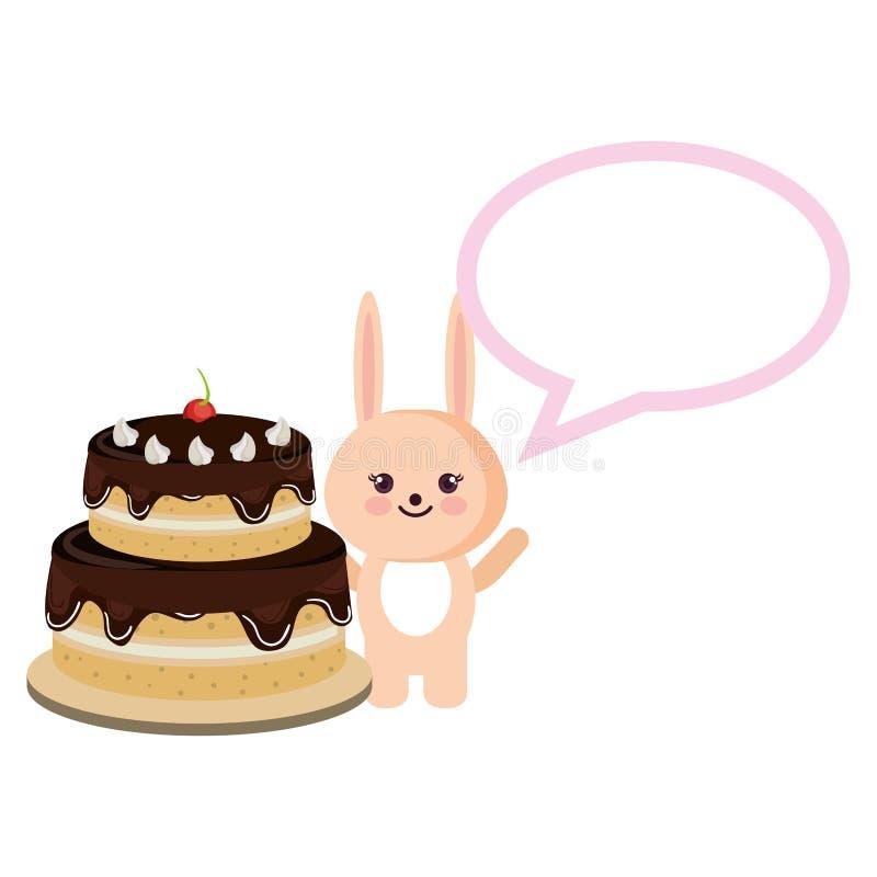Conejo con la burbuja del discurso y el kawaii de la torta stock de ilustración
