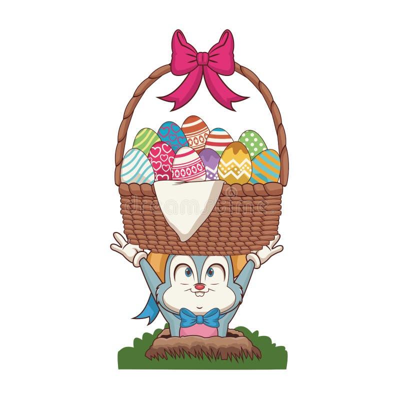 Conejo con los huevos de Pascua en cesta stock de ilustración