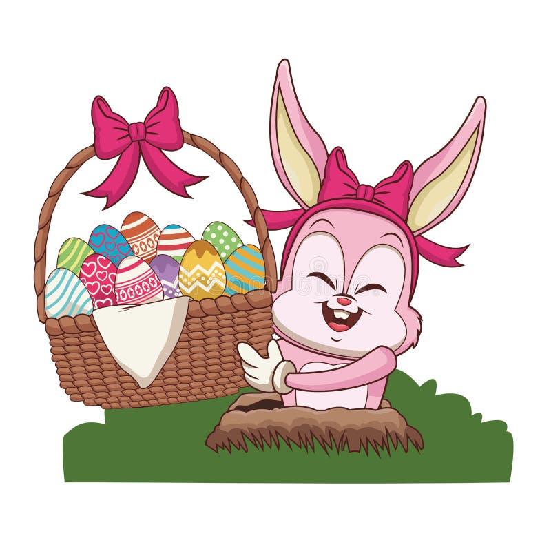 Conejo con los huevos de Pascua en cesta ilustración del vector