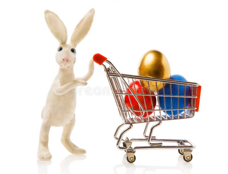 Conejo con un regalo imagen de archivo