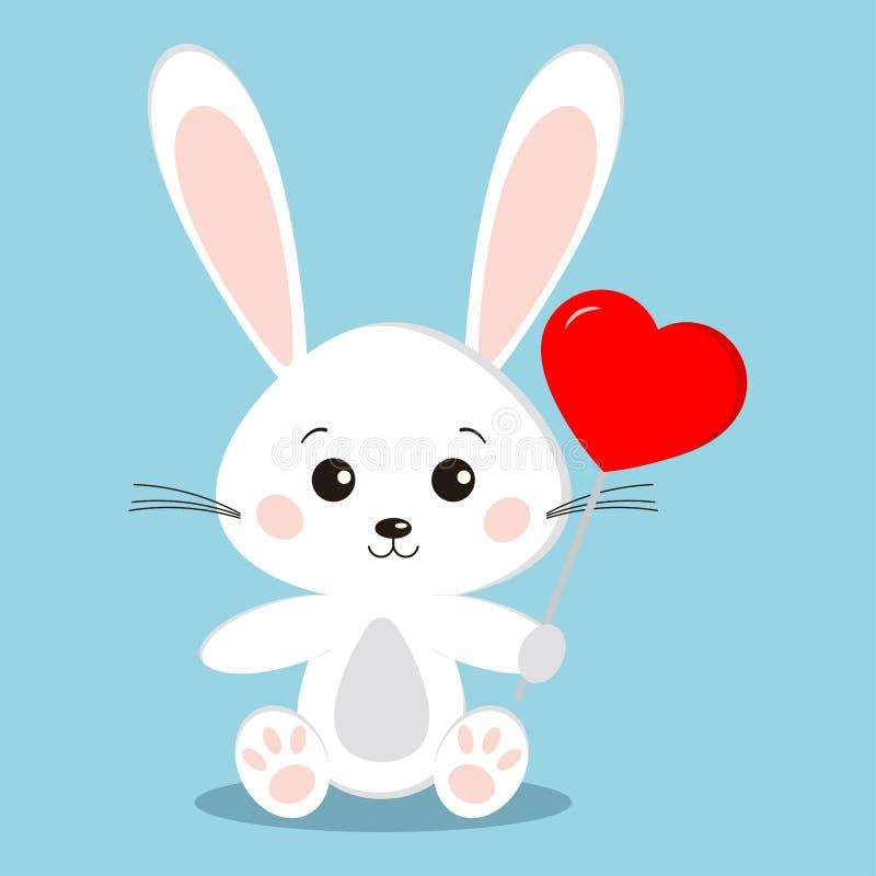 Conejo de conejito blanco lindo en actitud que se sienta con una piruleta roja en la forma de un corazón - regalo holyday del car stock de ilustración