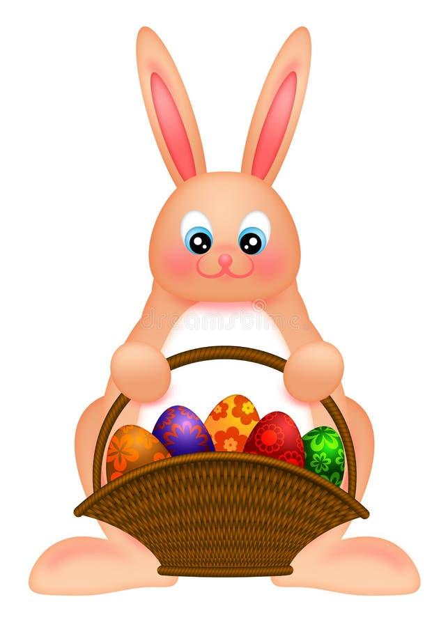 Conejo de conejito feliz de pascua con la cesta del huevo stock de ilustración