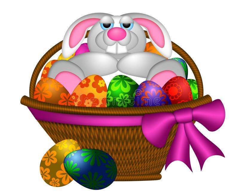 Conejo de conejito lindo de pascua que pone en cesta del huevo ilustración del vector