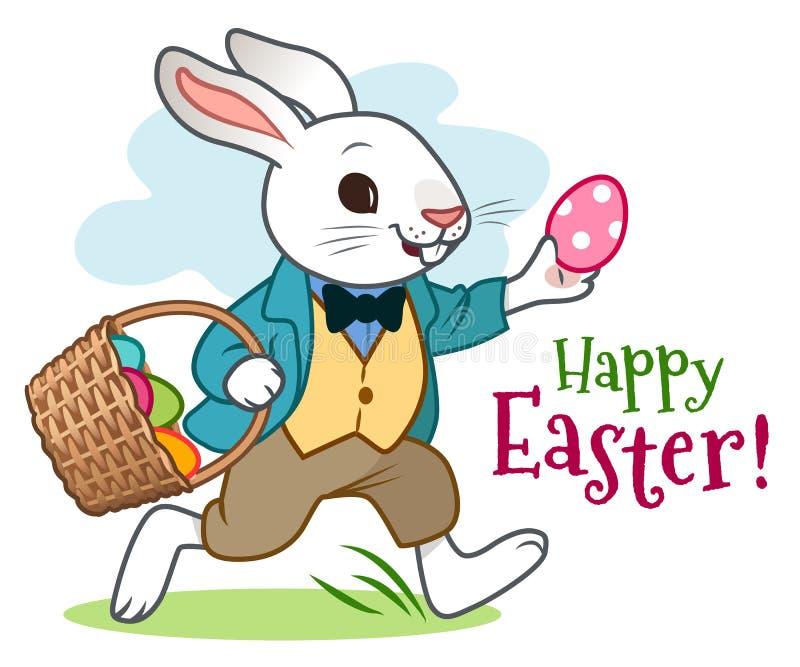 Conejo de conejito de pascua en chaqueta, chaleco y pantalones, feliz corriendo adelante, cesta que lleva por completo de huevos  libre illustration