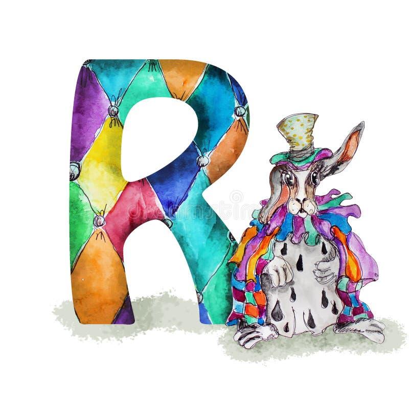Conejo de la acuarela de la fuente R en sombrero y cabo ilustración del vector