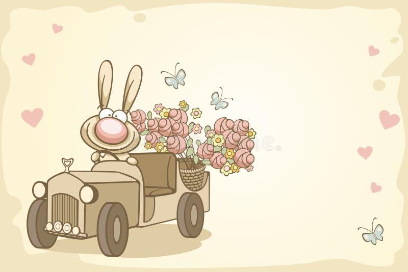 Conejo de la diversión el el día de tarjeta del día de San Valentín ilustración del vector