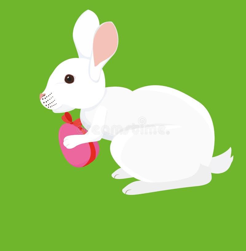 Conejo de la historieta de Pascua con el huevo pintado stock de ilustración