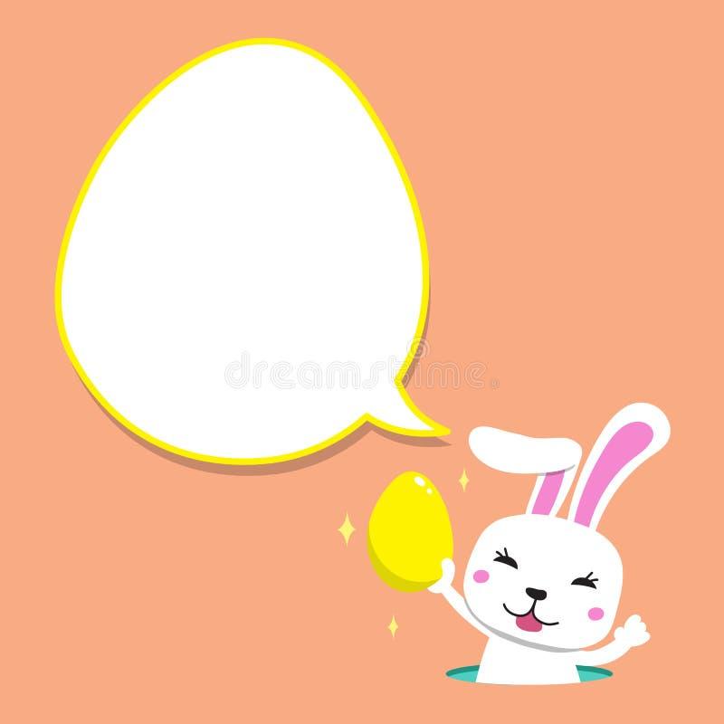 Conejo de la historieta que lleva el huevo de Pascua con la burbuja blanca del discurso stock de ilustración