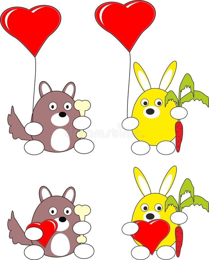 Conejo de la historieta y juguete del perro de perrito y corazón rojo fotos de archivo libres de regalías