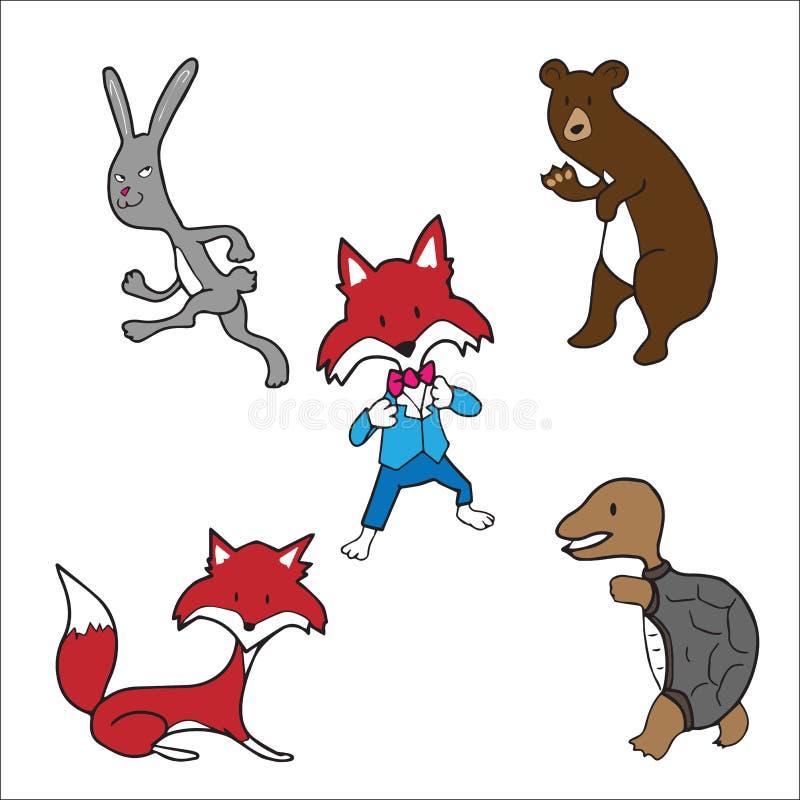Conejo de la tortuga del zorro del oso de los animales libre illustration